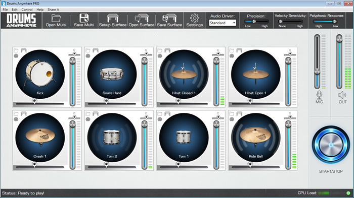 DrumsAnywhere interface